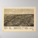 Mapa panorámico antiguo de Greenville Tejas 1886 Poster