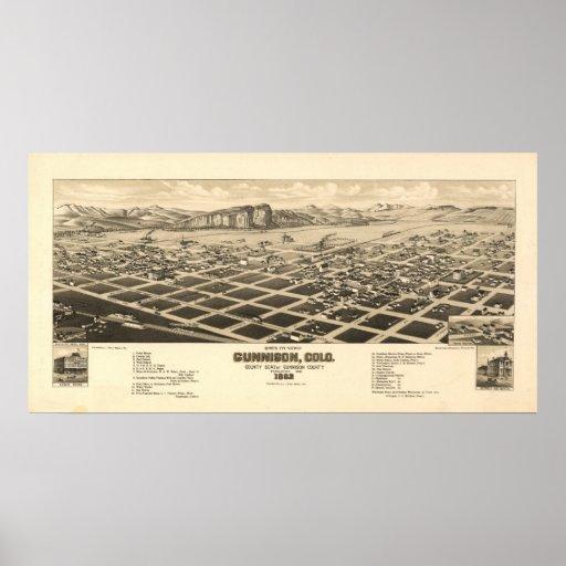 Mapa panorámico antiguo de Gunnison Colorado 1882 Póster