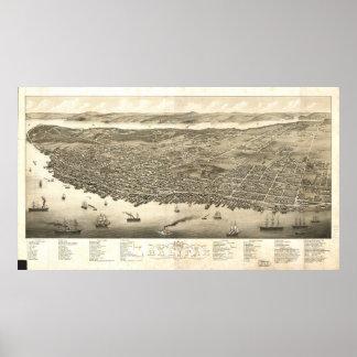 Mapa panorámico antiguo de Halifax Nueva Escocia 1 Posters