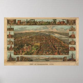 Mapa panorámico antiguo de Harrisburg Pennsylvania Impresiones