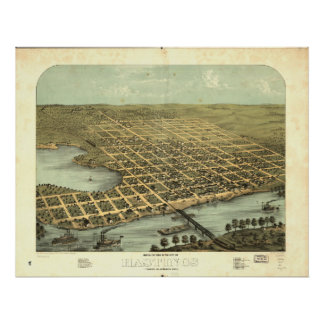 Mapa panorámico antiguo de Hastings Minnesota 1867 Posters