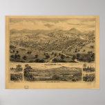 Mapa panorámico antiguo de Healdsburg California Poster