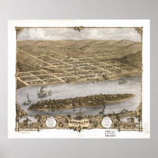 Mapa panorámico antiguo de Hermann Missouri 1869 Póster