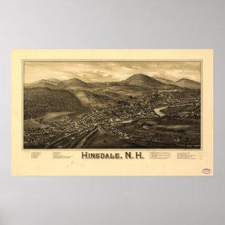 Mapa panorámico antiguo de Hinsdale New Hampshire  Póster