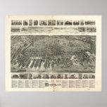 Mapa panorámico antiguo de Hoboken New Jersey 1903 Posters