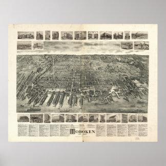 Mapa panorámico antiguo de Hoboken New Jersey 1903 Póster