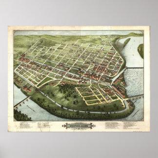 Mapa panorámico antiguo de Holyoke Massachusetts 1 Posters