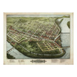 Mapa panorámico antiguo de Holyoke Massachusetts 1 Póster