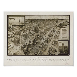 Mapa panorámico antiguo de Houston Tejas 1912 cént Poster