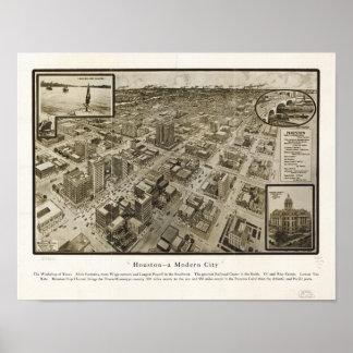 Mapa panorámico antiguo de Houston Tejas 1912 Póster