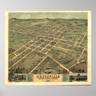 Mapa panorámico antiguo de Huntsville Alabama 1871 Impresiones