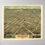 Mapa panorámico antiguo de Huntsville Alabama 1871 Póster