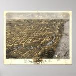 Mapa panorámico antiguo de Indiana 1869 de la ciud Poster