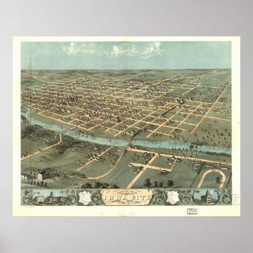 Mapa panorámico antiguo de Iowa City Iowa 1868 Poster