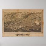 Mapa panorámico antiguo de Ithaca Nueva York 1882 Posters