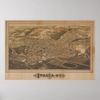 Mapa panorámico antiguo de Ithaca Nueva York 1882 Póster
