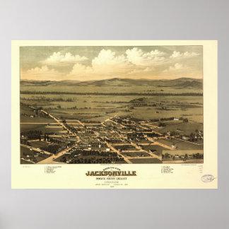 Mapa panorámico antiguo de Jacksonville Oregon Póster