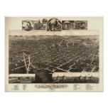 Mapa panorámico antiguo de Kalamazoo Michigan 1883 Impresiones