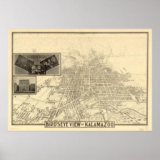Mapa panorámico antiguo de Kalamazoo Michigan 1908 Posters