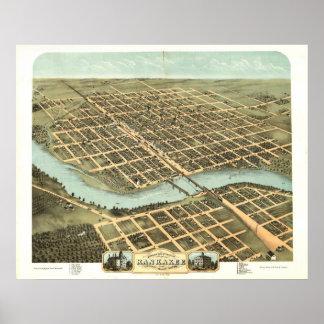 Mapa panorámico antiguo de Kankakee Illinois 1869 Impresiones