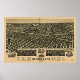 Mapa panorámico antiguo de Kearney Nebraska 1889 Impresiones