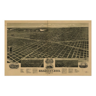 Mapa panorámico antiguo de Kearney Nebraska 1889 Poster