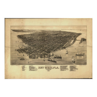 Mapa panorámico antiguo de Key West la Florida 188 Posters