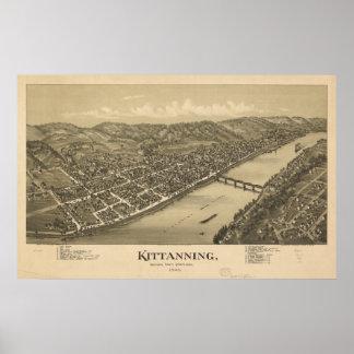 Mapa panorámico antiguo de Kittanning Pennsylvania Posters