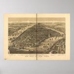 Mapa panorámico antiguo de la ciudad de Nueva York Posters