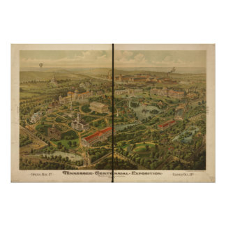 Mapa panorámico antiguo de la expo 1897 póster