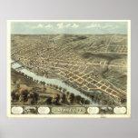 Mapa panorámico antiguo de Lafayette Indiana 1868 Póster