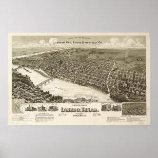 Mapa panorámico antiguo de Laredo Tejas 1892 Poster