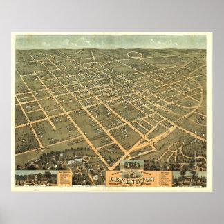 Mapa panorámico antiguo de Lexington Kentucky 1871 Póster