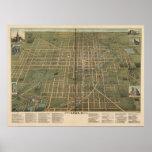 Mapa panorámico antiguo de Lima Ohio 1892 Poster