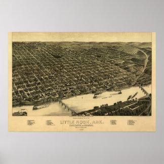 Mapa panorámico antiguo de Little Rock Arkansas 18 Póster