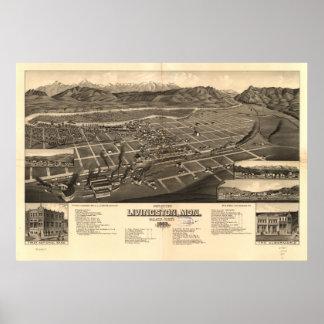 Mapa panorámico antiguo de Livingston Montana 1883 Póster