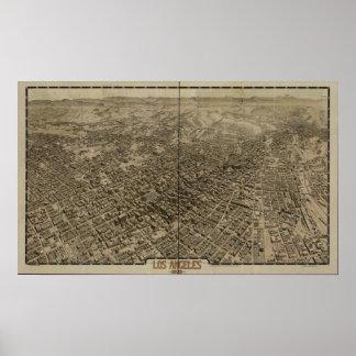 Mapa panorámico antiguo de Los Ángeles California  Impresiones