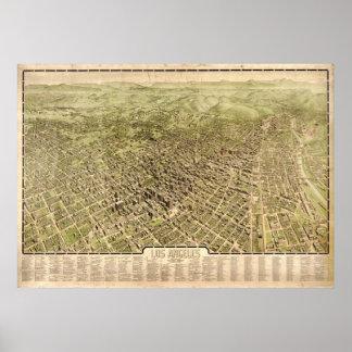 Mapa panorámico antiguo de Los Ángeles California  Póster