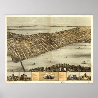 Mapa panorámico antiguo de los WI 1867 de Madison Impresiones