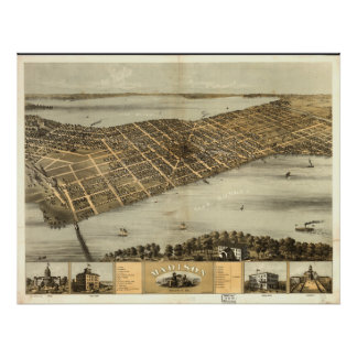 Mapa panorámico antiguo de los WI 1867 de Madison Póster