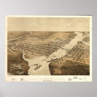 Mapa panorámico antiguo de los WI 1867 del Green B Poster