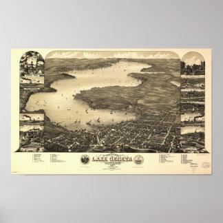 Mapa panorámico antiguo de los WI 1882 del lago Póster