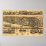 Mapa panorámico antiguo de los WI 1883 de Racine Poster