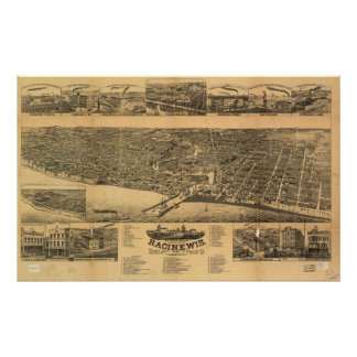 Mapa panorámico antiguo de los WI 1883 de Racine Póster