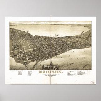 Mapa panorámico antiguo de los WI 1885 de Madison Póster