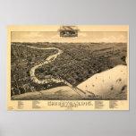 Mapa panorámico antiguo de los WI 1885 de Posters