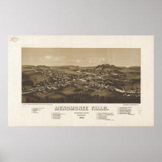 Mapa panorámico antiguo de los WI 1886 de Menomone Póster