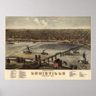 Mapa panorámico antiguo de Louisville Kentucky 187 Póster