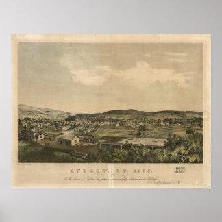 Mapa panorámico antiguo de Ludlow Vermont 1859 Póster