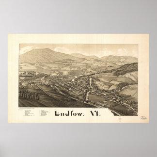Mapa panorámico antiguo de Ludlow Vermont 1885 Póster